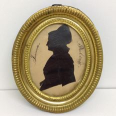 'Joanna Pulnix' - Silhouette portrait - ink drawing on paper - Holland - 18th century