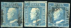 Sicily 1859 - 2 gr. (three stamps), plates  2 and 3 - Sass.  No.  7, 8, 8c