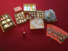 Collection of Christmas items with original angel hair and Lametta