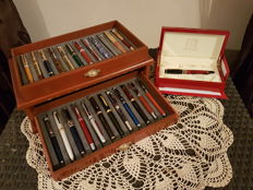 Gorgeous Collection of 24 Different Fountain Pens With Silver and Gold Plated Iridium Nibs in a Two-Drawered Luxury Case + 1 Picasso Pen Case
