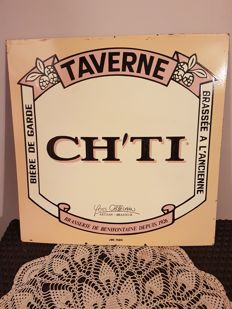 Very rare advertising sign for Ch'ti beer signed jmb