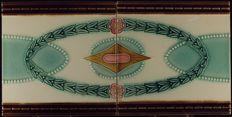Bouffioulx - Art Nouveau tile - decorations spread across two tiles