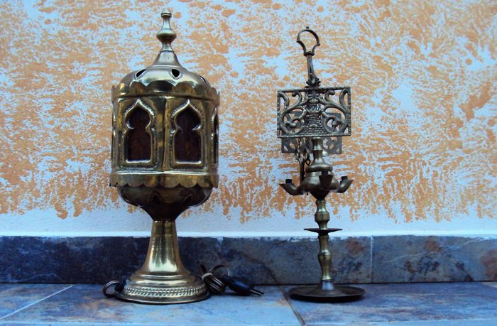 Florentine oil lamp in bronze and large brass light with original glass - Turkey - early 1900s