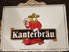 Rare superb enamelled and embossed advertising plate for Kanterbrau beer, Hans Kanter