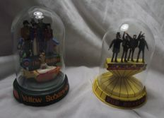 The Beatles. Two Franklin Mint domes: 'Help!' and 'Yellow Submarine'. Limited editions numbered on the base.
