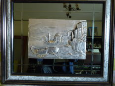 Gigi - Bas-relief work on a metal plaque, covered with silver 800/1000