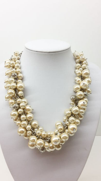 Isaac Mizrahi - Designer - Faux Pearl Cluster necklace with austrian crystals
