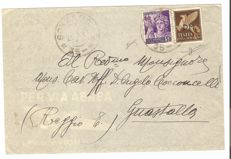 Italy 1944 - R.S.I, 50 Cent brown with PM overprint and 50 Cent violet, identical values on letter from Gonzaga to Guastalla - Sassone No. 14 and 507