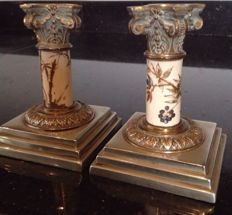 Pair of candelabra in bronze and Corinthian-style porcelain - Italy - ca 1900s