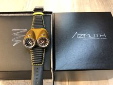 2010-2017 Azimuth TWIN TURBO mechanical watch Racing car theme 2 Time Zones Yellow bonnet