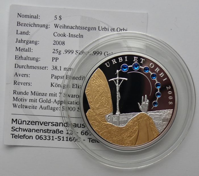 Cook Islands 5 Dollars 2008 Christmas Blessing Urbi Et Orbi Partly Gold