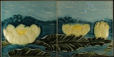 N.st.G - 2 Art Nouveau tiles with water lilies