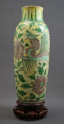 Roll vase decorated with phoenixes - China - c. 1900