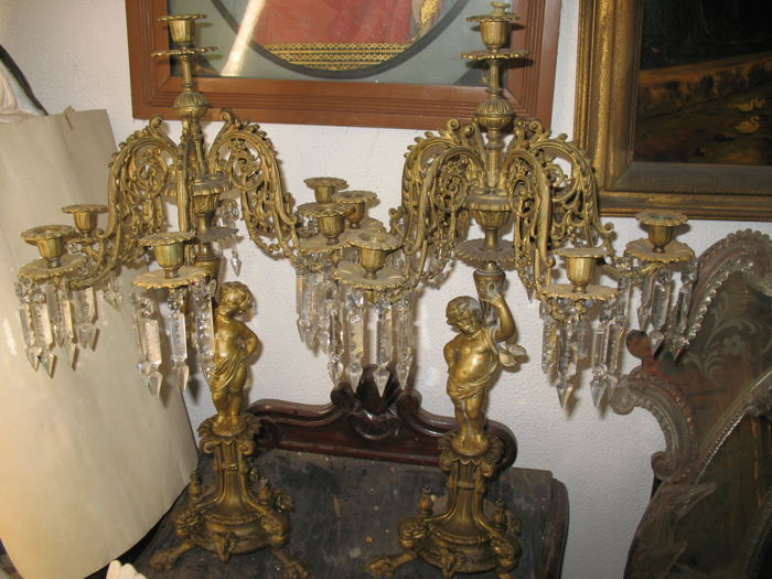 Gilt bronze candelabra with putti of the abundance and floral garlands - ca. 1860 - Italy