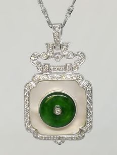 18K white gold necklace and pendant of a jadeite piece setting  with mother of pearl and 67 pcs  of diamonds at 0.80 ct