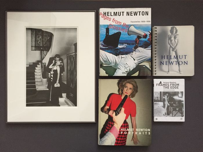 Helmut Newton; Lot with two books, one framed Special  Collection photo-litho, a diary and a DVD - 1979 / 2015