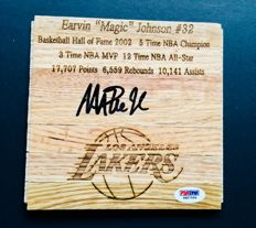 Magic Johnson #32 / LA Lakers - Amazing Signed Hardwood Floor  - with Certificate of Authenticity PSA/DNA