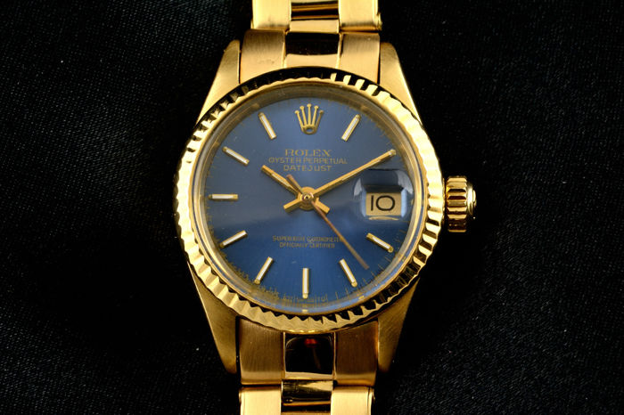 rolex oyster perpetual date yellow gold 18k damen 1970 1979 catawiki. Black Bedroom Furniture Sets. Home Design Ideas