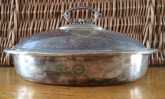 Antique Serving Plate with Lid - English silver plated - unpolished - marked Glasgow Exhibition 1901