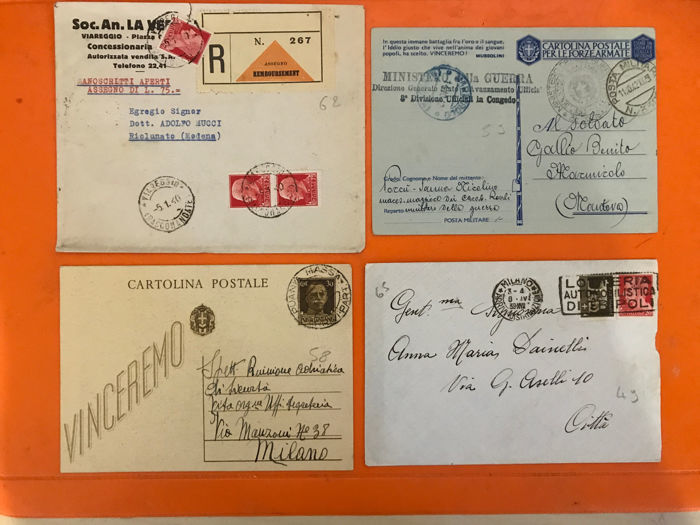 Kingdom of Italy 1922/1942 - Lot of 36 letters and/or postcards, some from Eritrea and military post