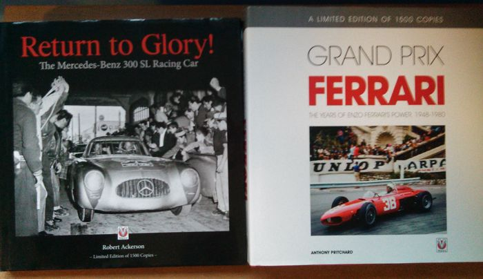 2 books return to glory the mercedes benz 300 sl racing car/ grand prix ferrari the enzo years limited 1500 copies