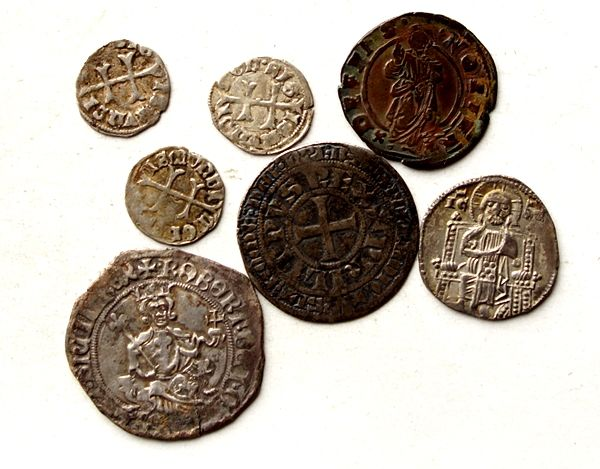 France, Italy, Hungary - collection of coins from the Middle Ages from France, Italy, Hungary (7 pieces)