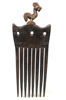 Beautiful Comb made of Bronze and Wood  - AKAN - Côte d'Ivoire