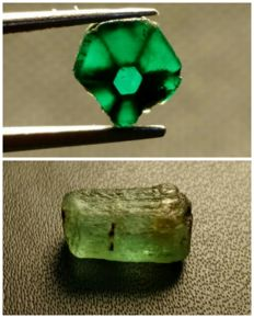Natural Russian Emerald and rare Trapiche Emerald crystals - 6.4 ct (2)