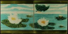 Societe Morialme - 2 Art Nouveau tiles with water lilies and a bird