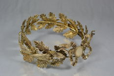 Crown in silver and vermeil (gold on silver), France 19th century