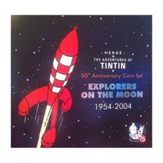 Belgium - Coin set 1999/2003 'Tintin explorers on the moon 1954-2004' including silver medal