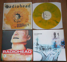 Radiohead- Great lot of 3 lp's: Pablo Honey (unofficial release on yellow marbled wax!), The Bends (still sealed!) & OK Computer (still sealed!)