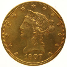 United States – 10 Dollars 1907 'Coronet Head' – gold
