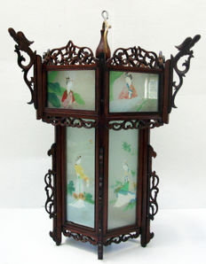 Wood Lantern with Reverse Painted Glass Panels - China -  mid 20th century