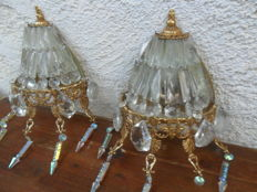 A pair of crystal and gilt-bronze wall lamps, with mirror on the inside, France, circa 2000