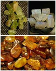 Collection of natural crystals: amber, peridot, moonstone- 260 ct.