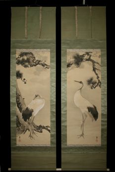"Set of two scroll paintings signed 'Sosetsu 蘇雪' - Two cranes and pine tree"" - Japan - Mid to late 19th century"