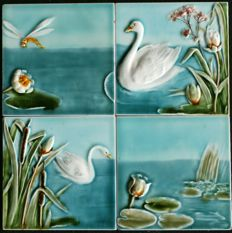 Villeroy & Boch - 4 Art Nouveau tiles with waterlilies and swans