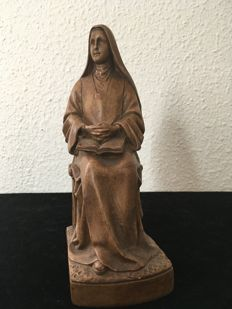 Holy statue, plaster statue of seated Mary - France - early 20th century.
