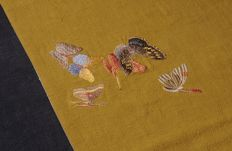 Butterfly ramie linen embroidered table banner 2, length about 200cm, width about 30cm,