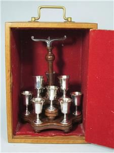 Rare vintage English silver plated chalice set with mahogany stand and oak box with working lock - England, 20th century