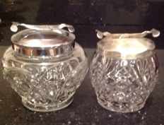 Two vintage English silver plated sugar bowls with glass containers - England, 20th century