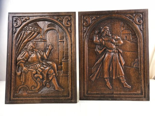 Pair of oak carved panels - France - ca. 1890