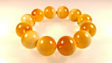 Egg yolk- honey landscape colour round modified beads Baltic Amber bracelet, 43 grams