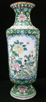 Large Cantonese Enamel on Copper Vase - China - mid 20th century