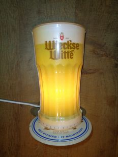 WIECKSE WITTE illuminated advertising in the shape of a glass of foaming beer Origin the Netherlands, 1970s ILLUMINATED ADVERTISING BEER SIGN