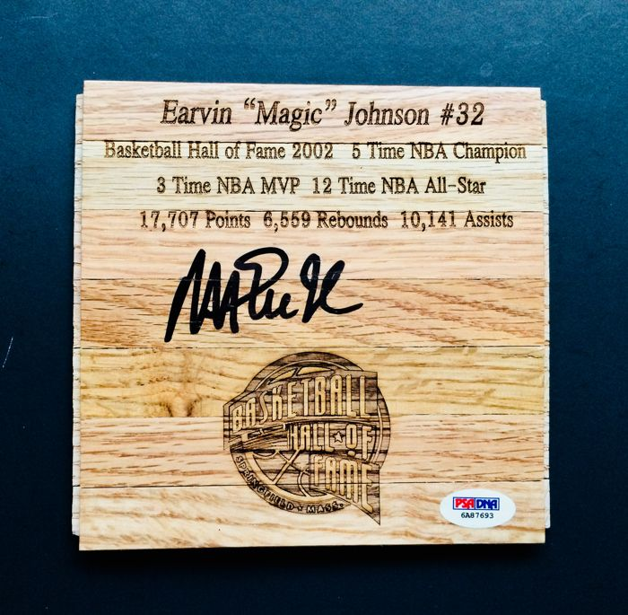 Magic Johnson 32 La Lakers Amazing Signed Hardwood Floor With