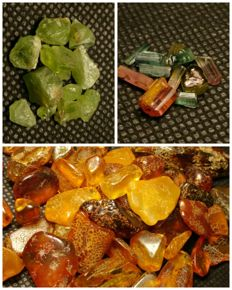 Collection of natural amber, peridot & tourmaline - 240 ct.