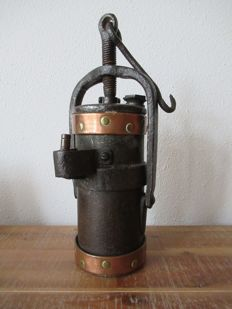 120 year old mine lamp fired on carbide and hand-made... very rare.