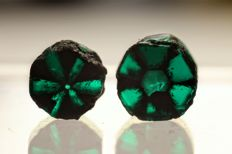 Very rare Trapiche Emerald crystals - 1.35 ct (2)